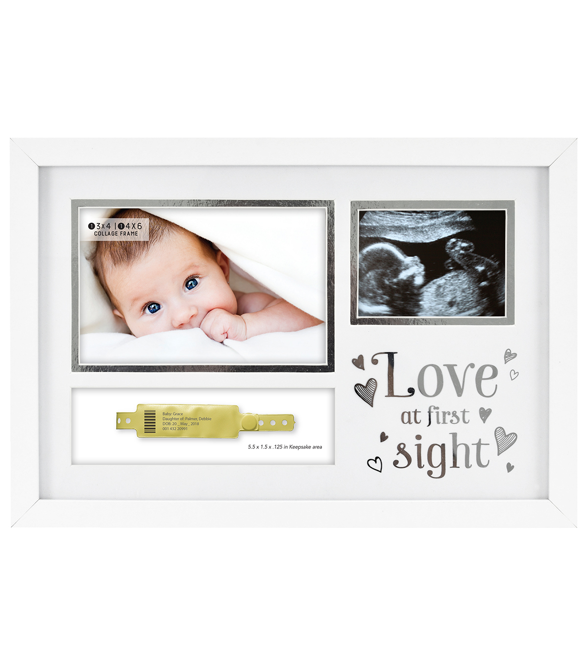 Wood & Glass 3 Image Collage Frame-Love at First Sight on White