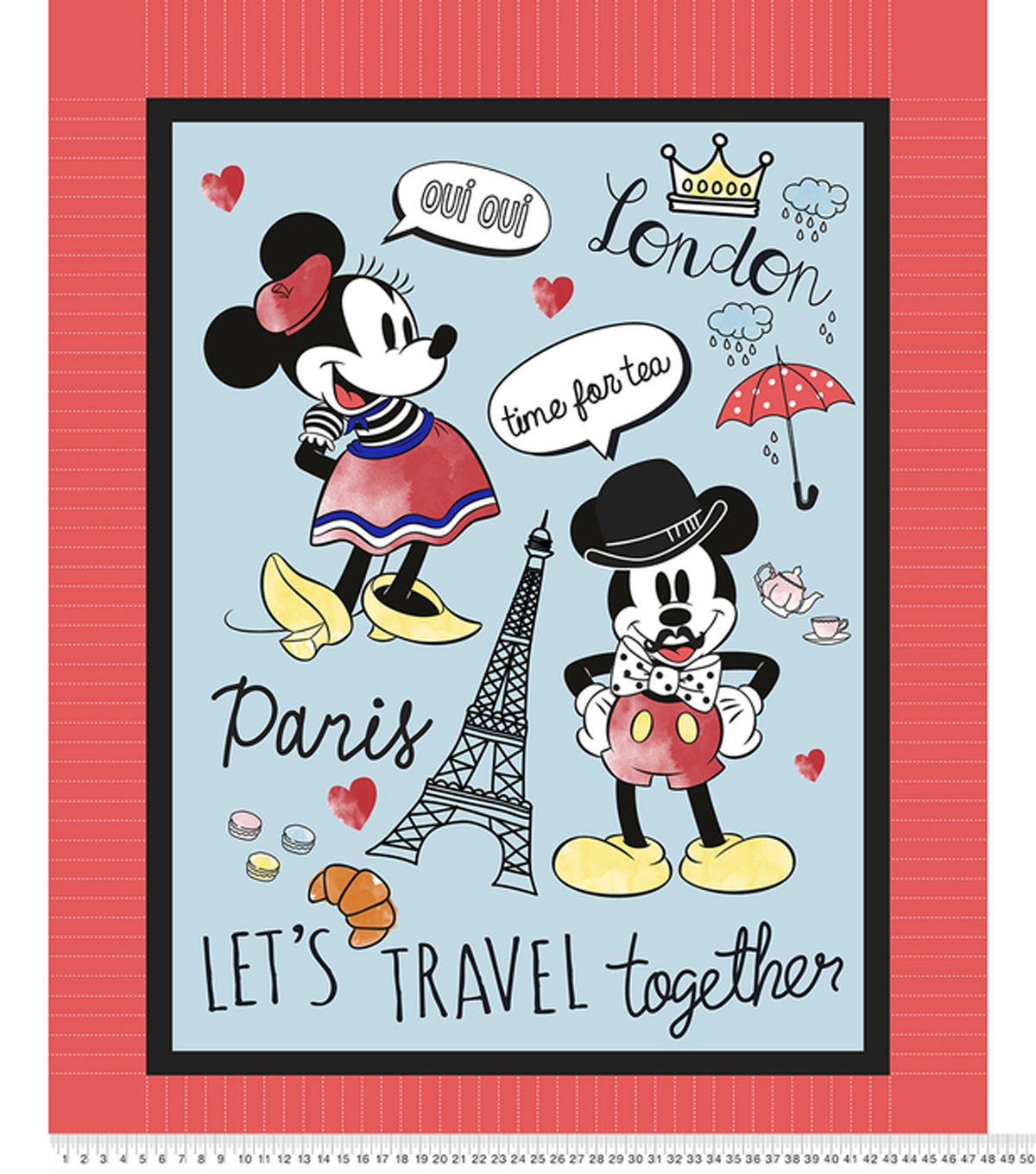 Mickey & Minnie No Sew Fleece Throw-Travel