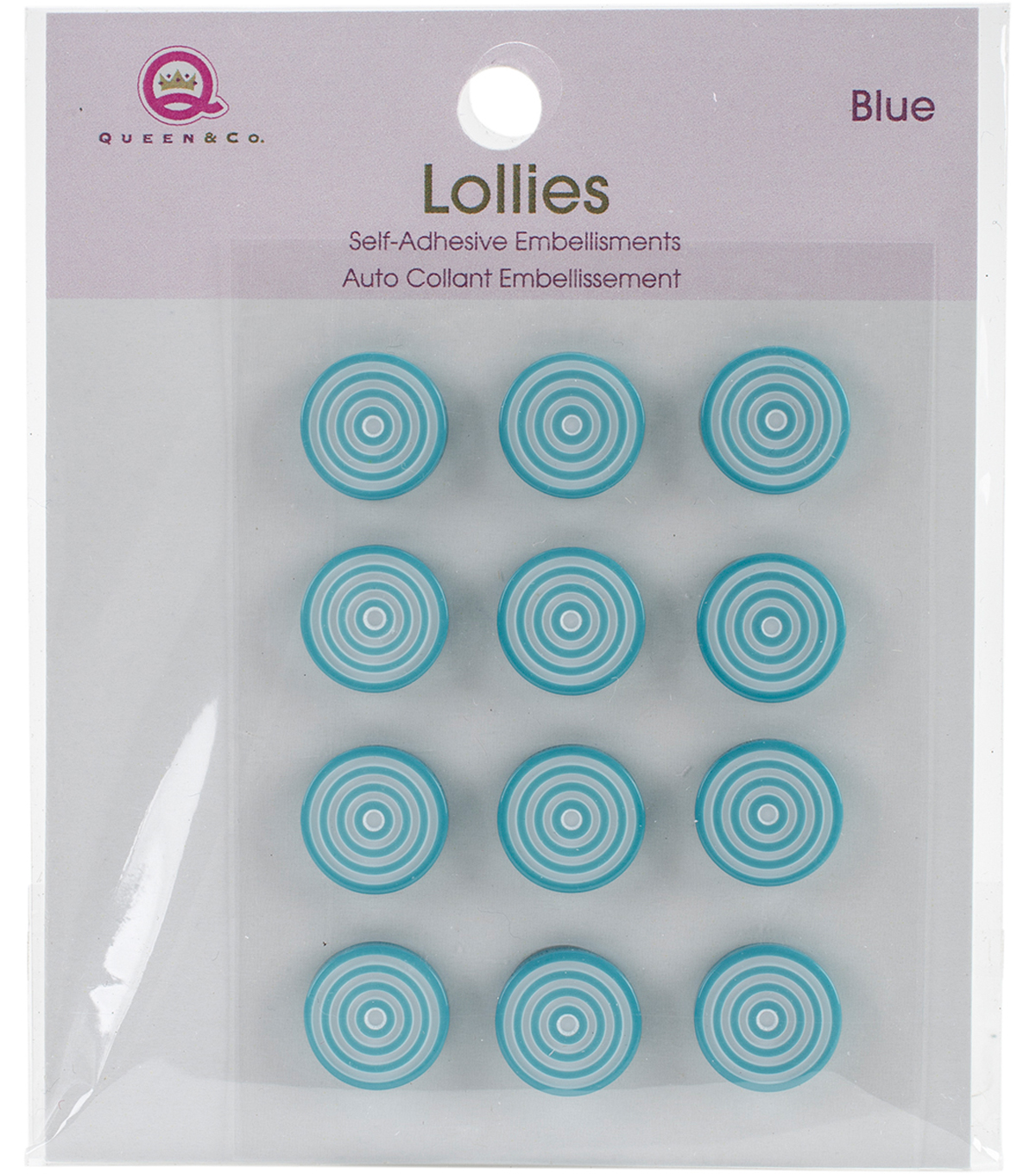 Queen & Co. 12 pk Lollies Self-Adhesive Embellishments-Blue