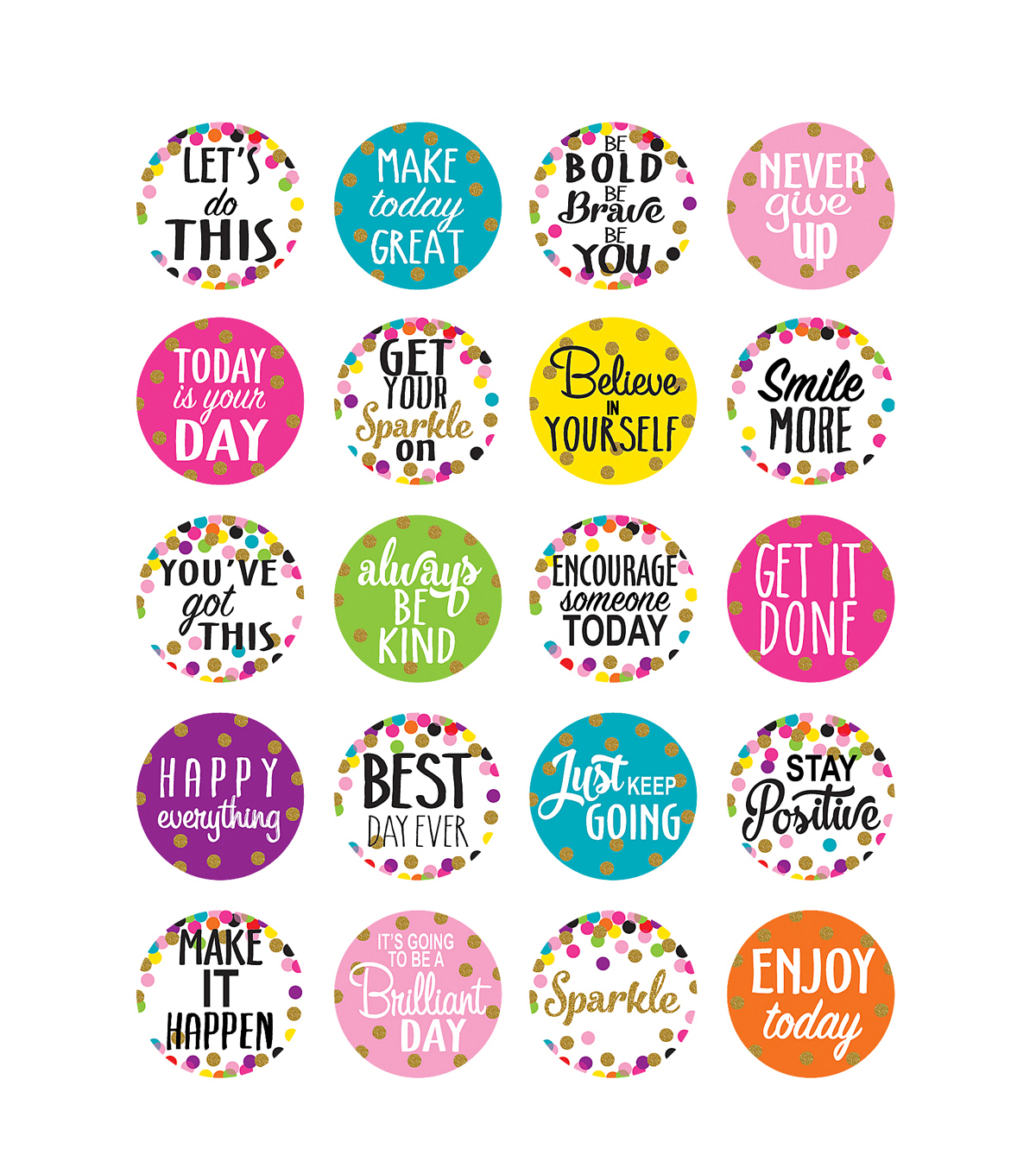Teacher Created Resource Confetti Words to Inspire Planner Stickers 12pk