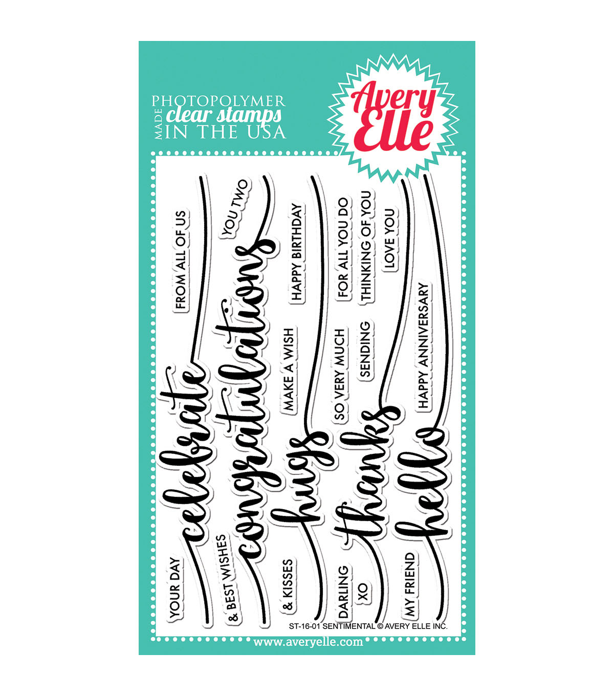 Avery Elle 21 pk Clear Stamps-Sentimental
