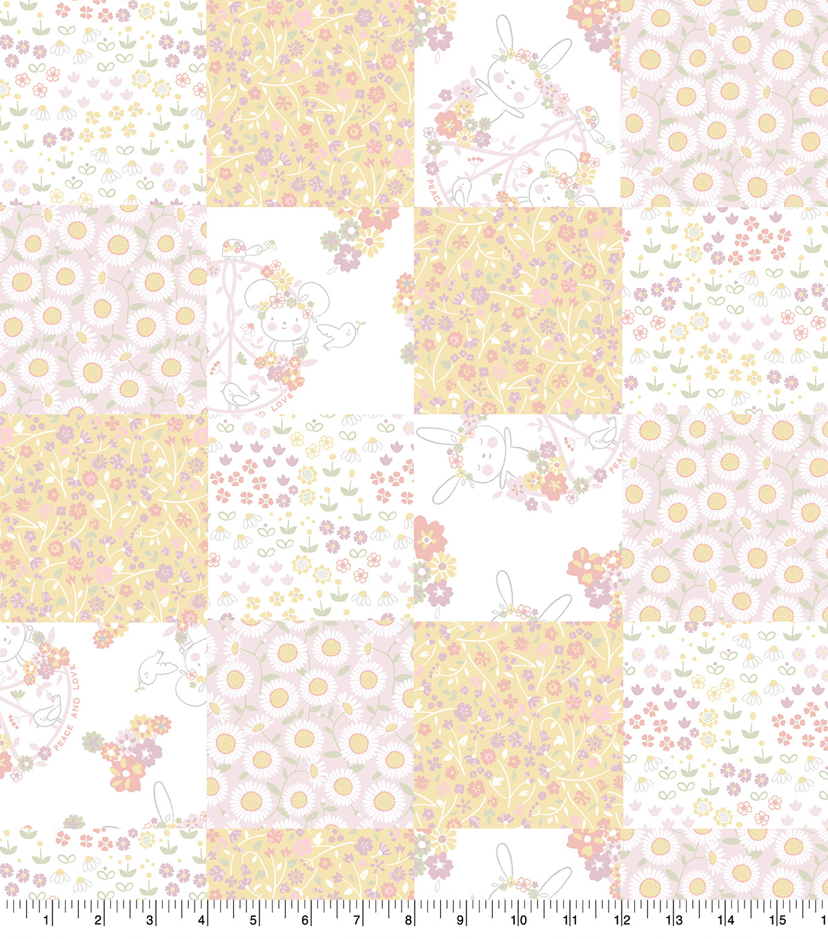Nursery 3D Patch Fabric-Floral Bunny