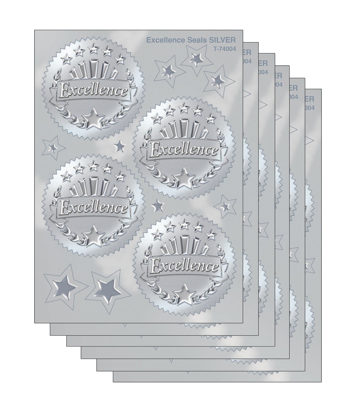 Trend Enterprises Inc. Excellence (Silver) Award Seals Stickers, 32/Pack