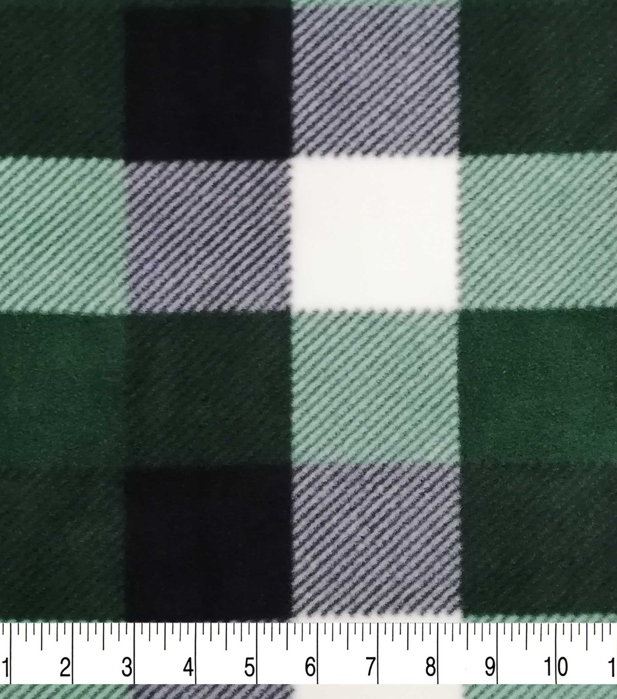 Specialty Luxe Fleece Fabric-Green & White Buffalo Checks