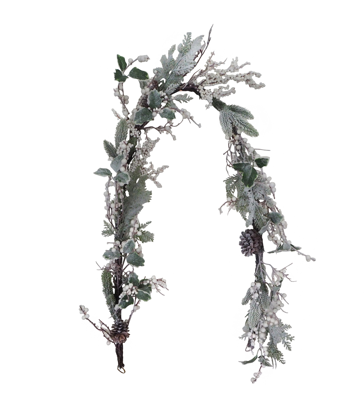 Blooming Holiday Christmas 66\u0027\u0027 Frosted Holly, Berry & Pinecone Garland