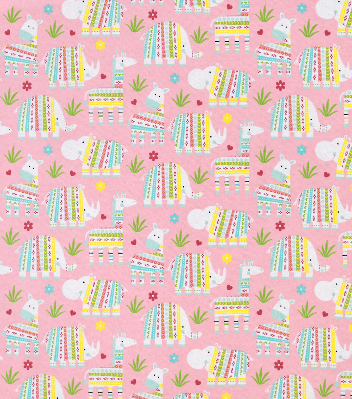 Snuggle Flannel Fabric-Baby Safari Animals on Pink