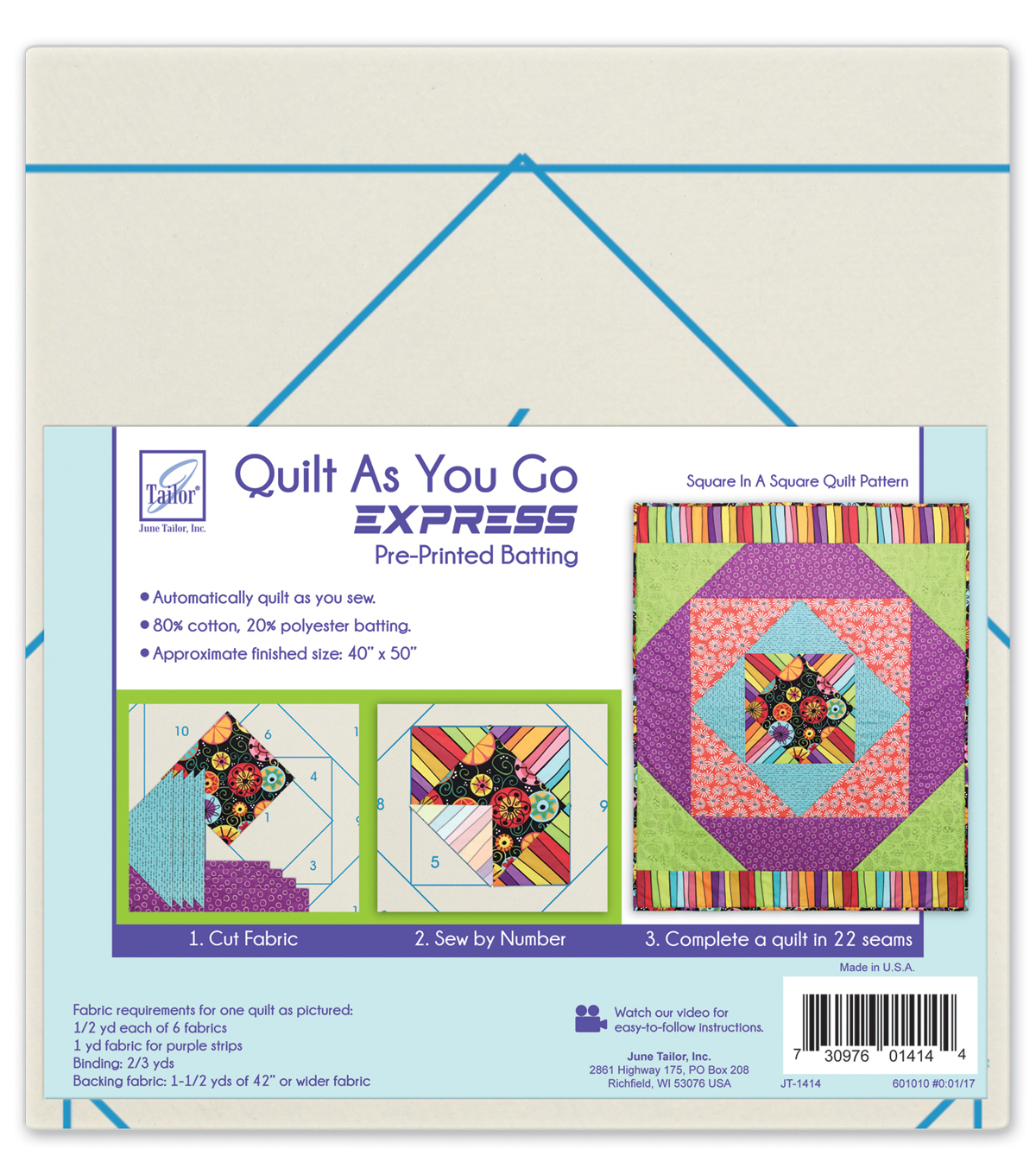 June Tailor Quilt As You Go Express Batting-Square In A Square