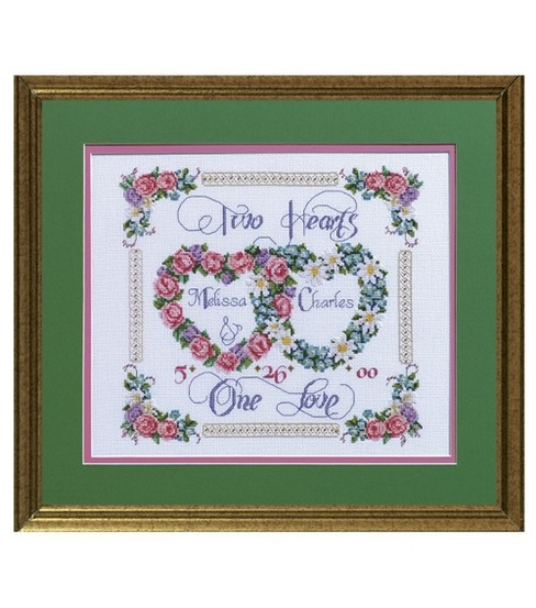 Two Hearts, One Love Counted Cross Stitch Kit-14\u0022X12\u0022 14 Count