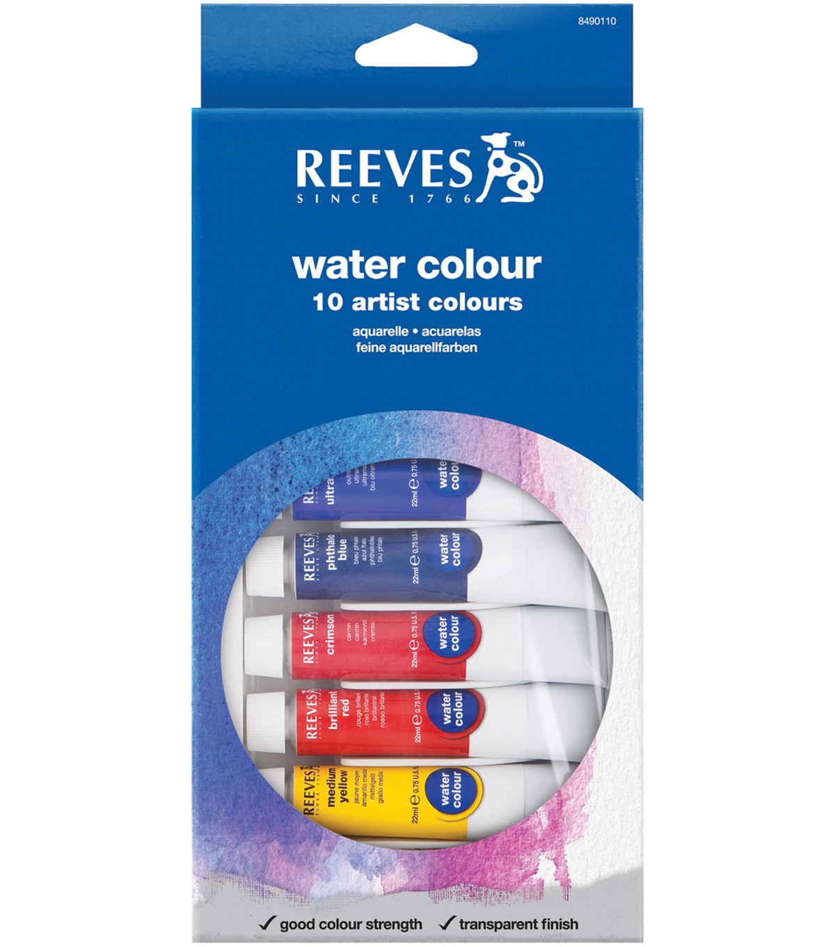 Reeves Water Colour Paints 22ml 10 Pack-Assorted Colors