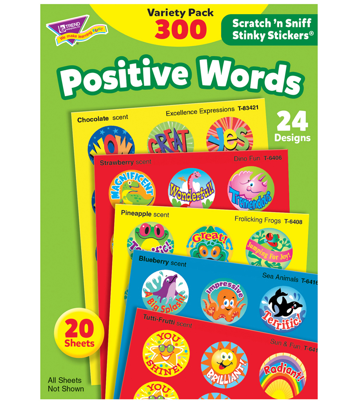 TREND Scratch\u0027n Sniff Stinky Stickers Variety Pack-Positive Words