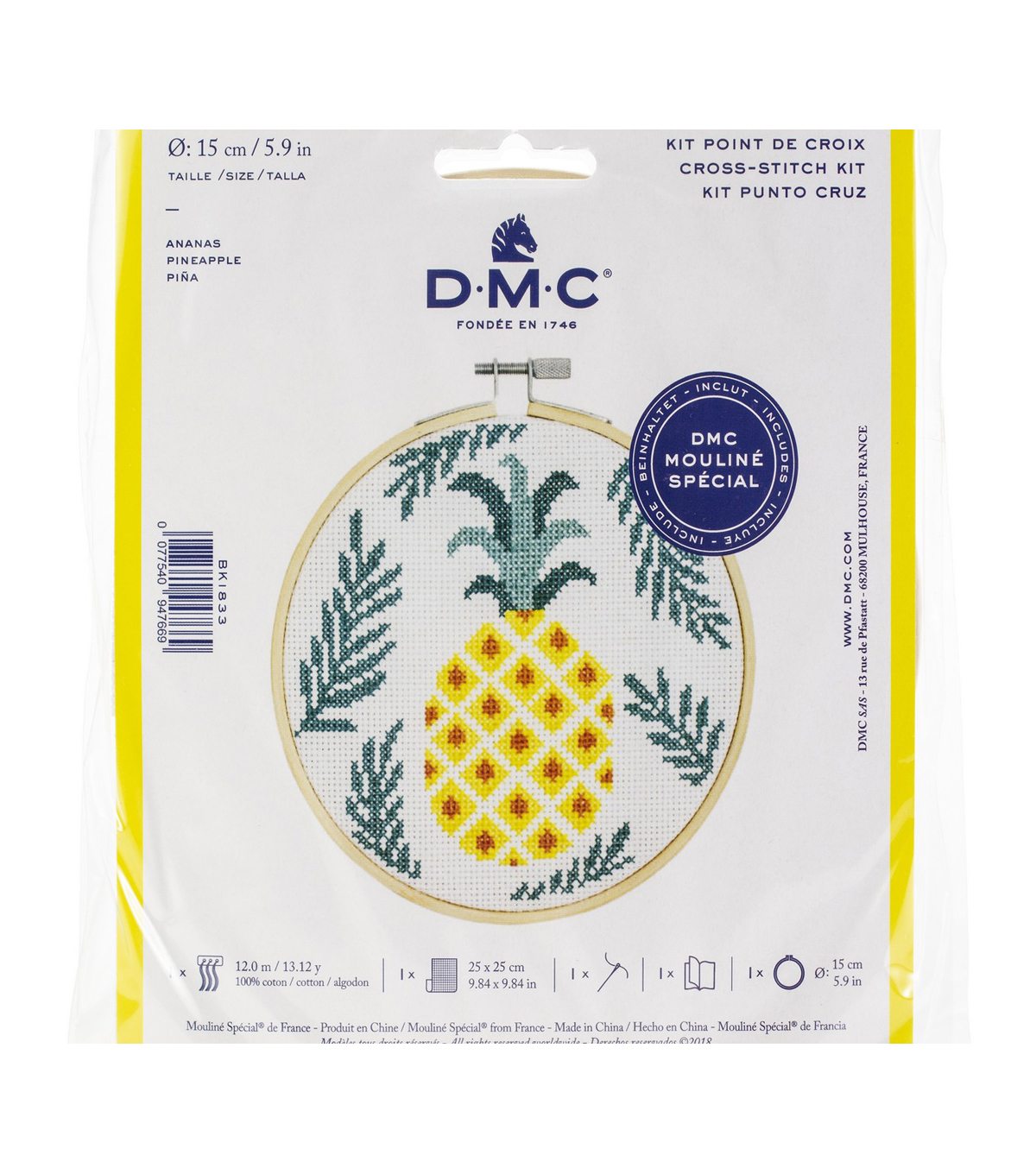 DMC Mouline Special 14-count Cross Stitch Kit-Pineapple