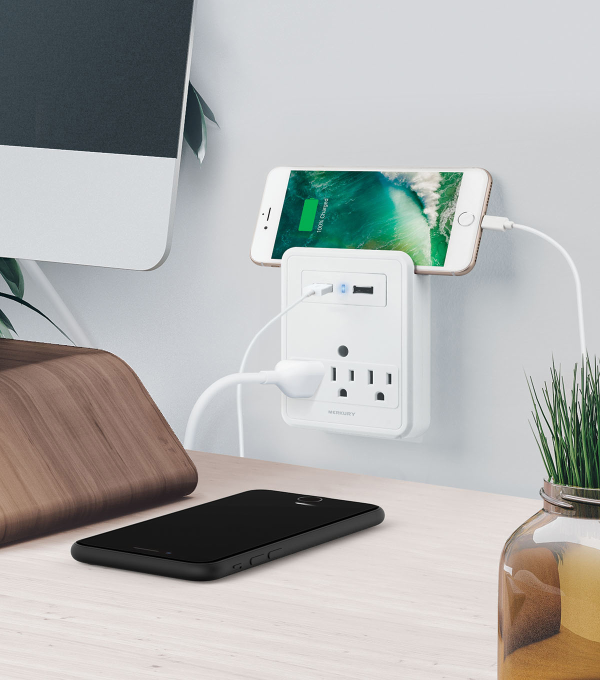 USB Wall Plate With Phone Stand