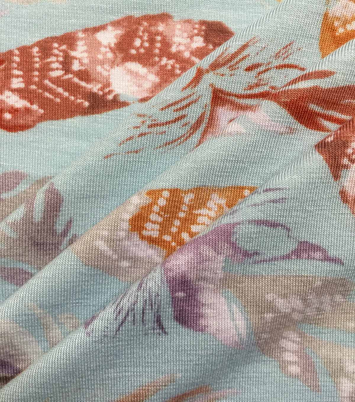Knit Fabric 57\u0027\u0027-Feathers on Aqua