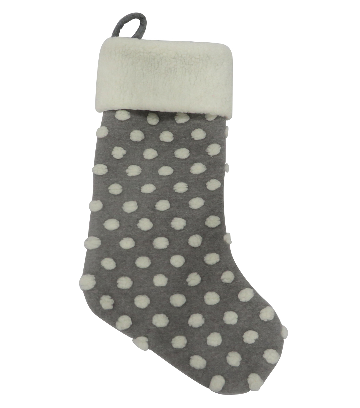 Maker\u0027s Holiday Christmas 21\u0027\u0027x12\u0027\u0027 Stocking with Dots-Gray