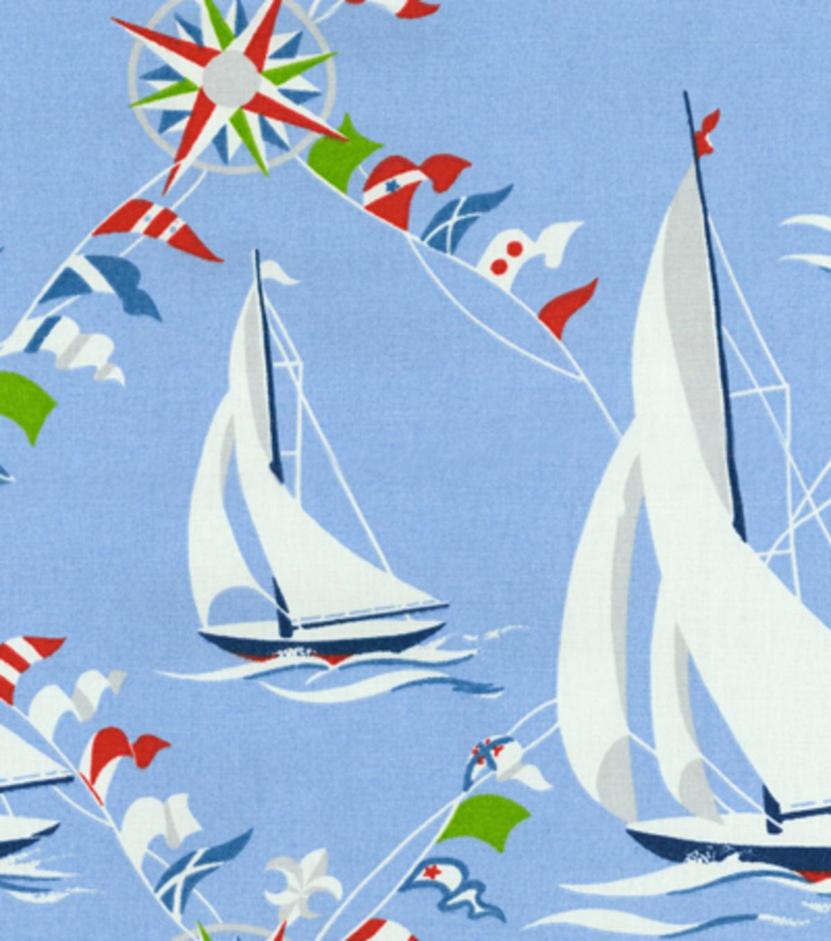 Waverly Upholstery Fabric Set Sail/Blue Marine