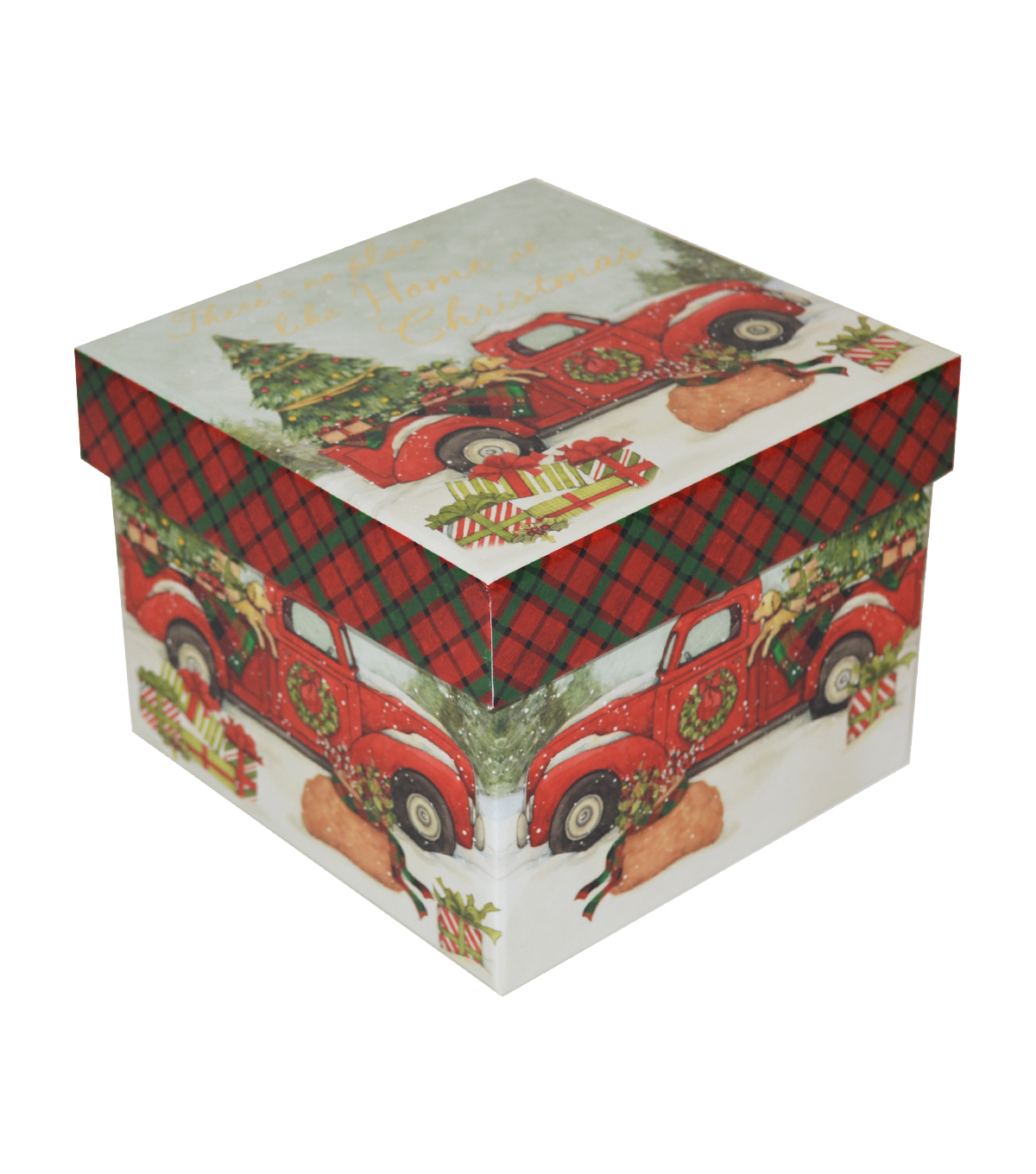 Christmas Small Square Storage Box Red Truck