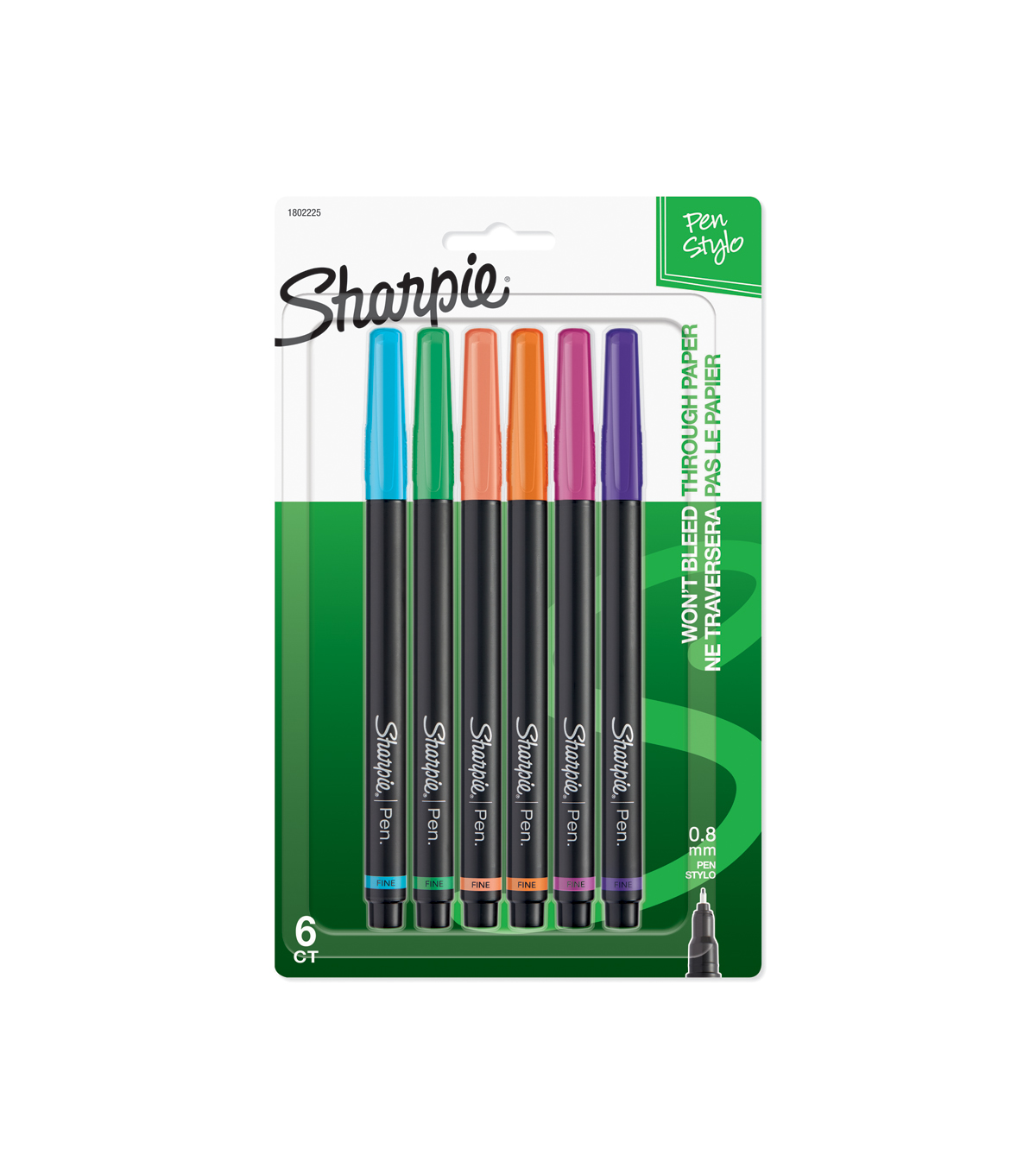 Sharpie Pen Stylo Fine 6/Pkg-Assorted Colors