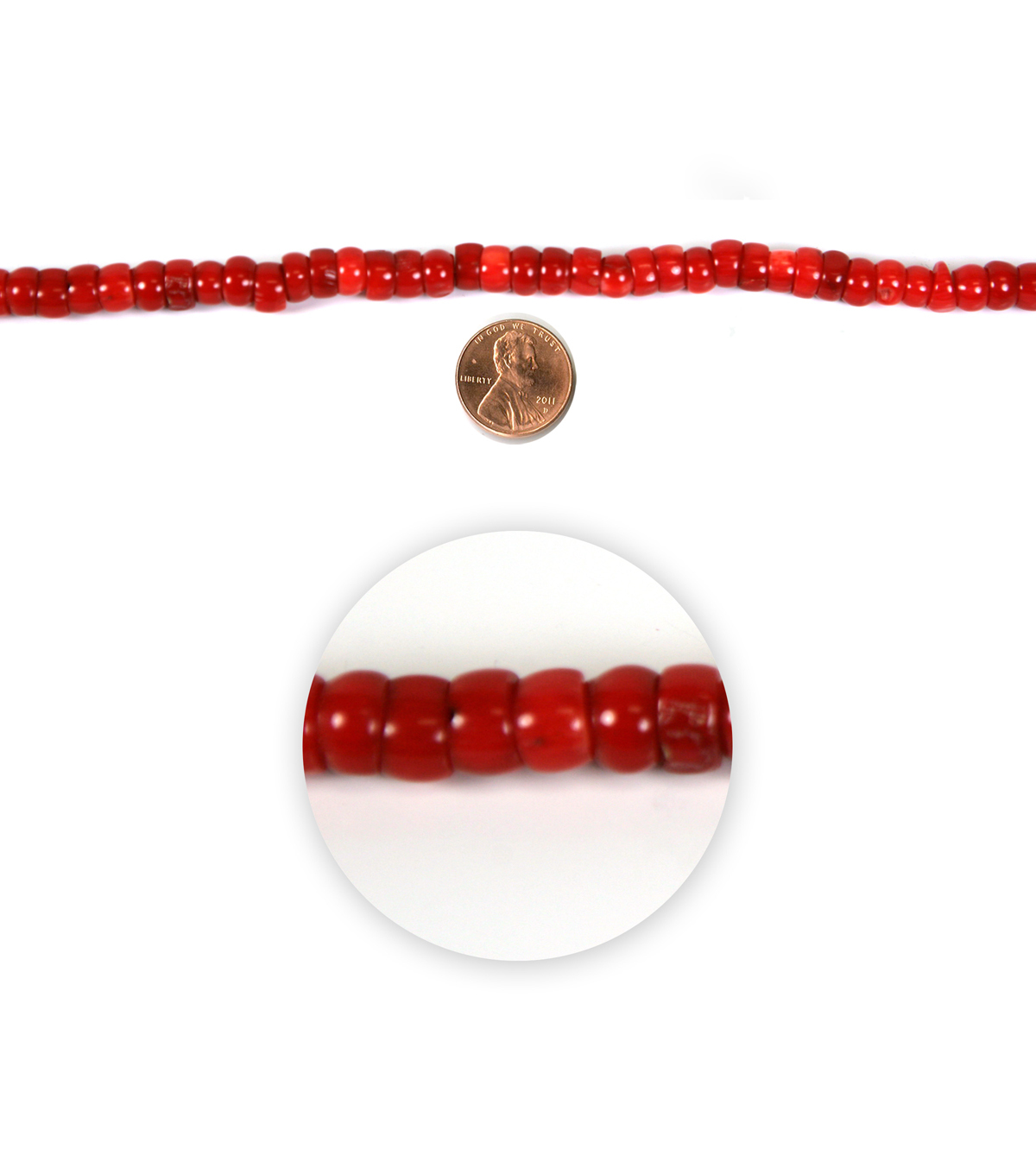 Blue Moon Strung Coral Beads,Flat Round,Coral Red