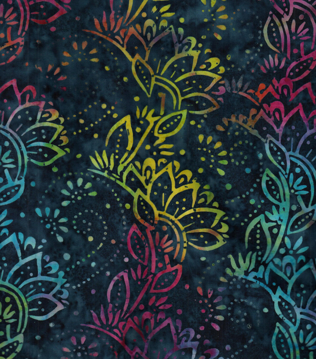 Legacy Studio Indonesian Batiks Cotton Fabric 44\u0022-Blue Rainbow Floral