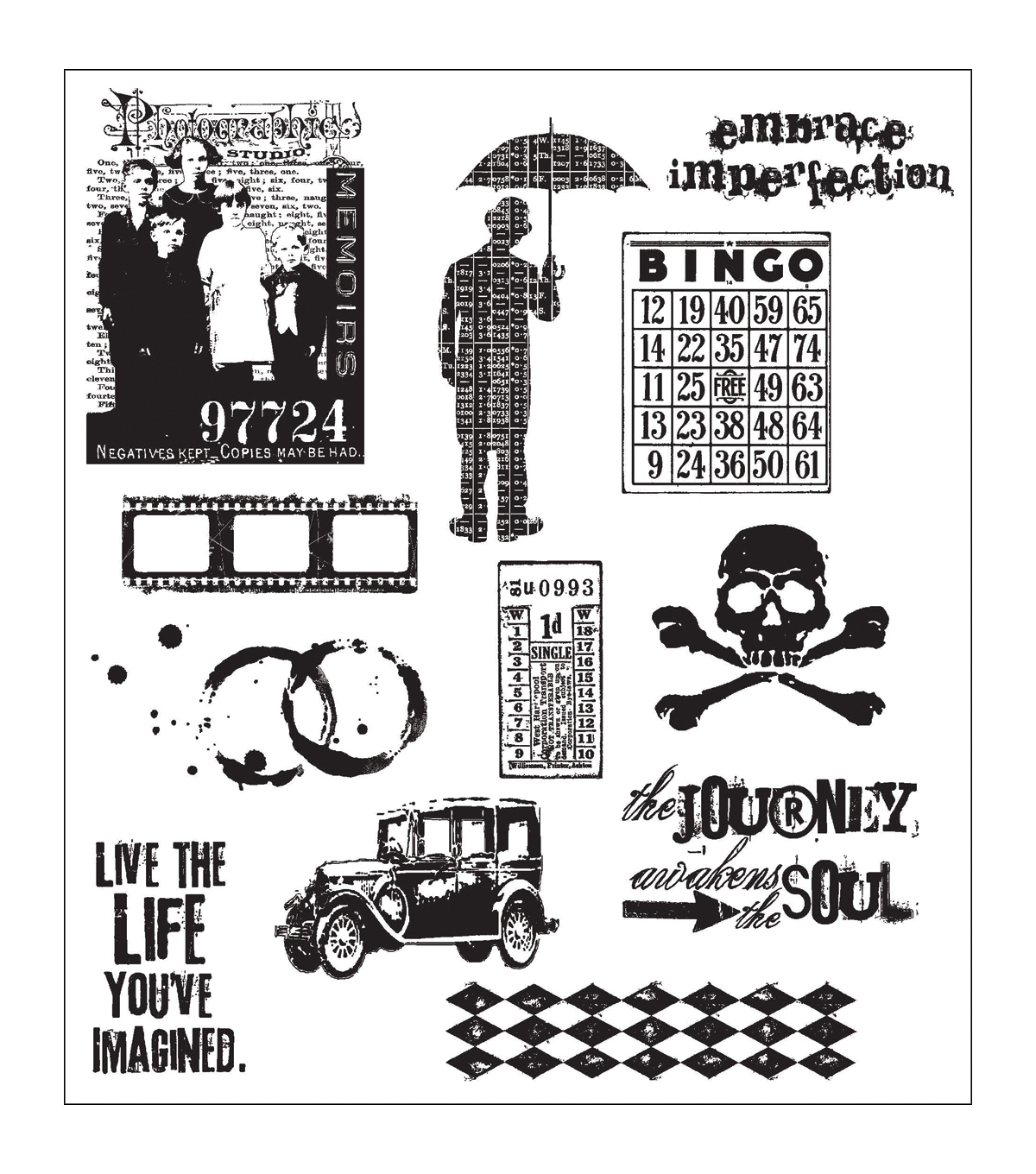 Tim Holtz Large Cling Rubber Stamp Set-Mini Muse