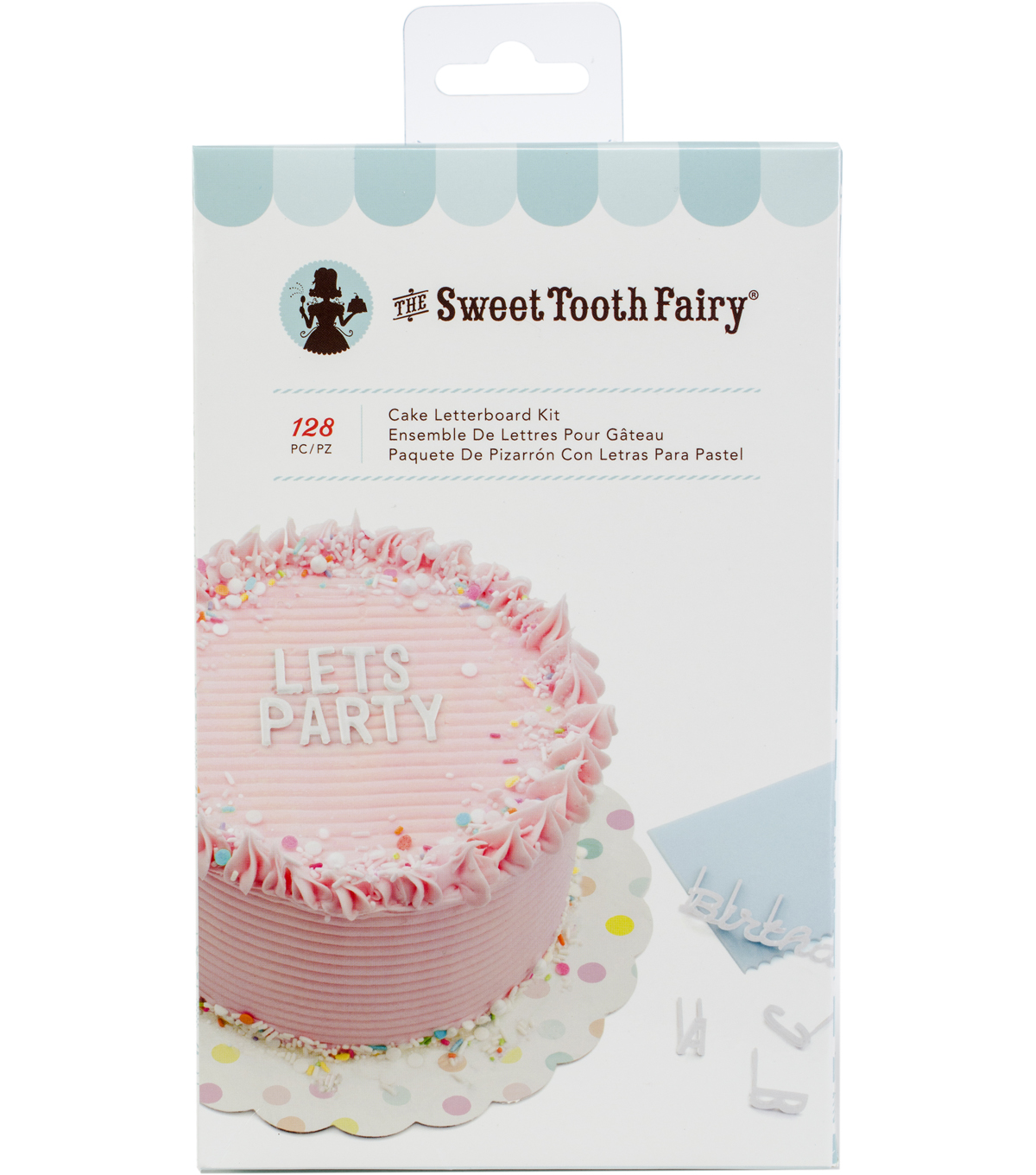 The Sweet Tooth Fairy 128 pk Cake Letter Board Kit-White Alphabet