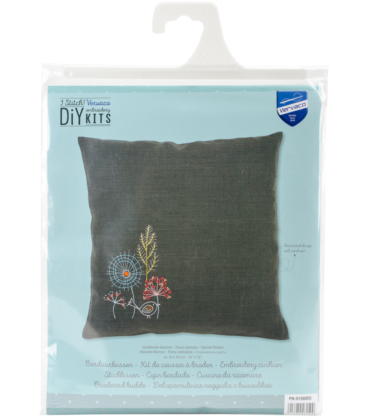 Vervaco 16\u0027\u0027x16\u0027\u0027 Stamped Embroidery Cushion Kit-Stylized Flowers IV