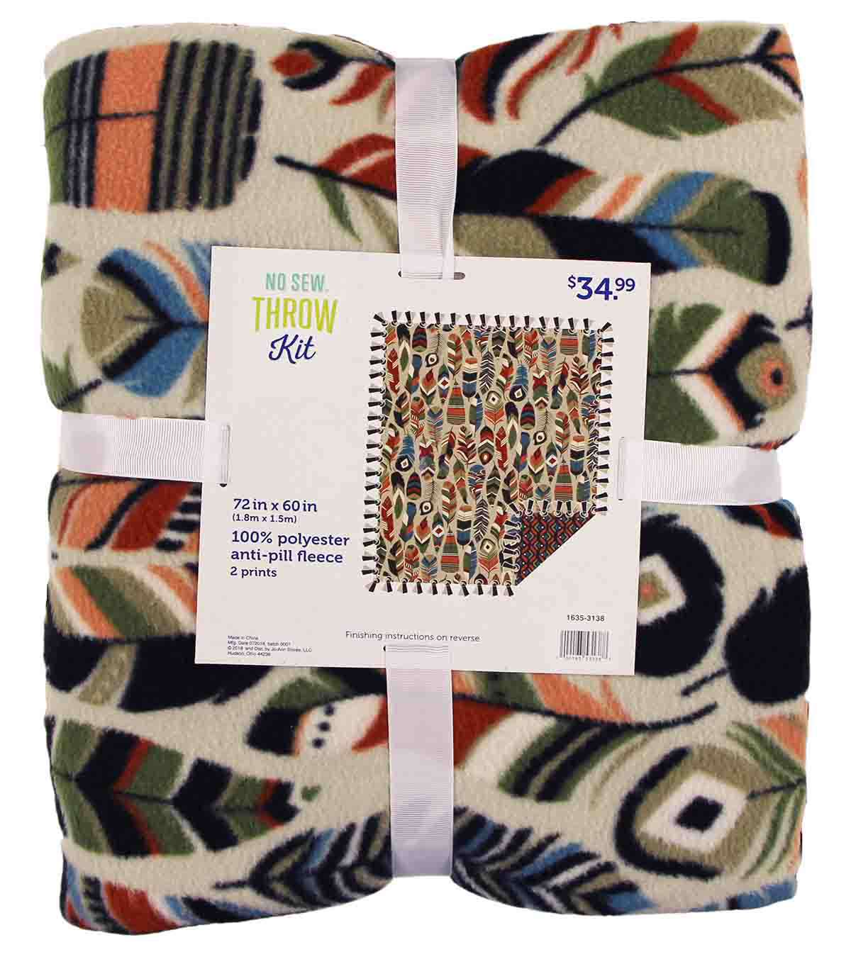 No Sew Fleece Throw-Aztec Feathers
