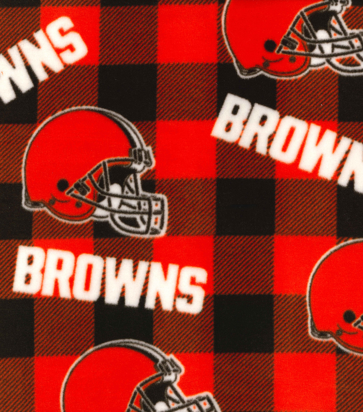 Cleveland Browns Fleece Fabric-Buffalo Plaid