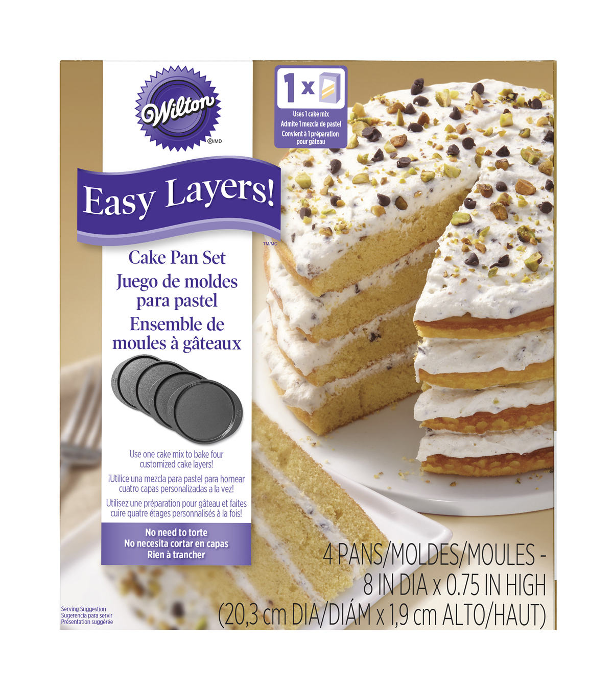 Wilton Easy Layers 8\u0022 Round Cake Pan Set 4pc