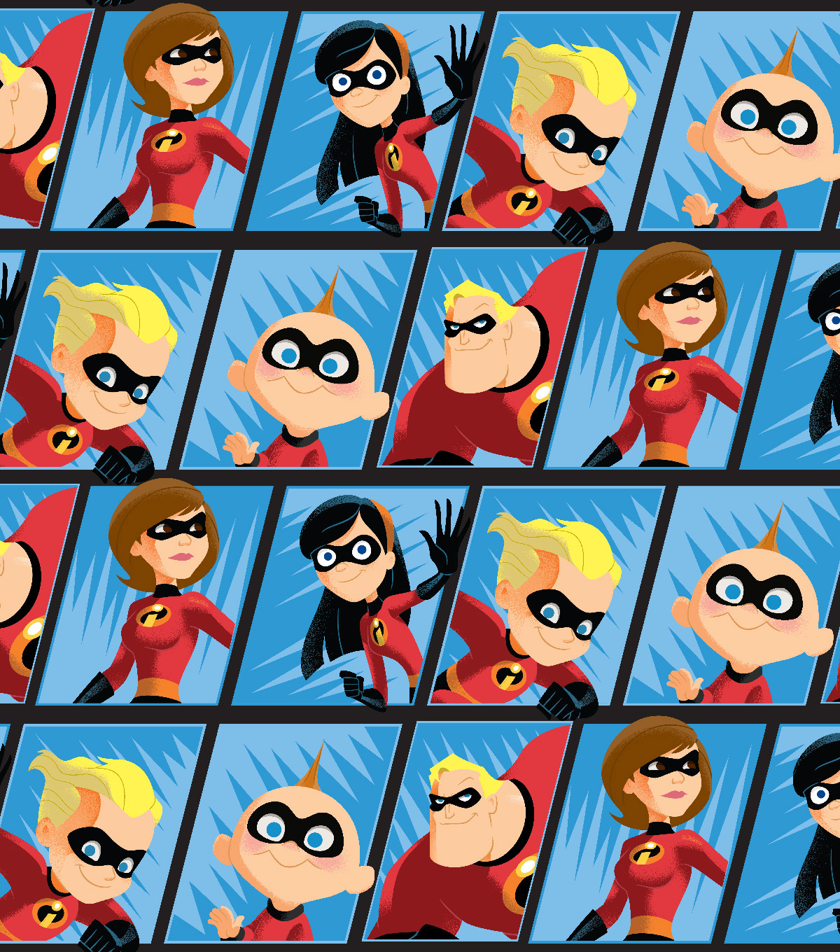 Disney Incredibles 2 Fleece Fabric 59\u0027\u0027-Comic Scene
