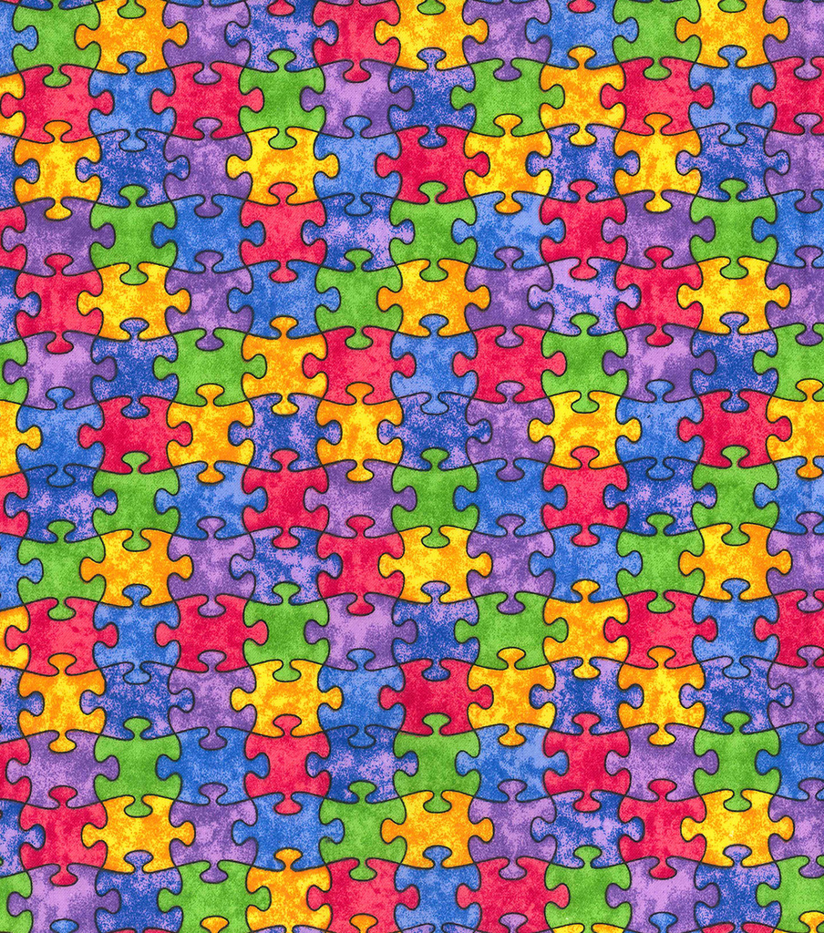 Novelty Cotton Fabric 44\u0022-Multi Color Puzzle Pieces