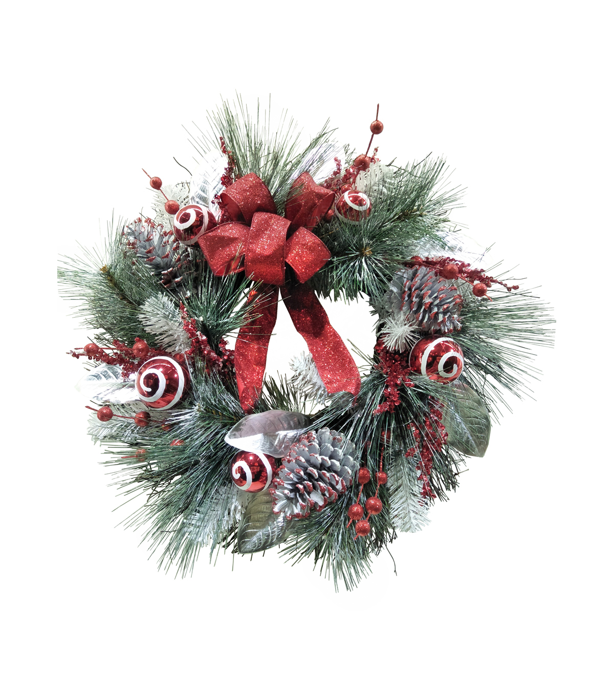 Blooming Holiday Christmas Ornament & Pine Wreath with Bow-Red & White