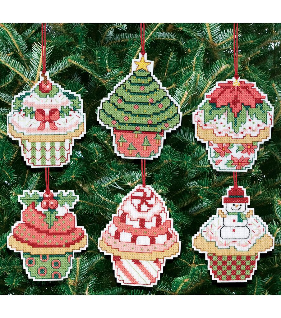 Christmas Cupcake Ornaments Counted Cross Stitch Kit-Set ...