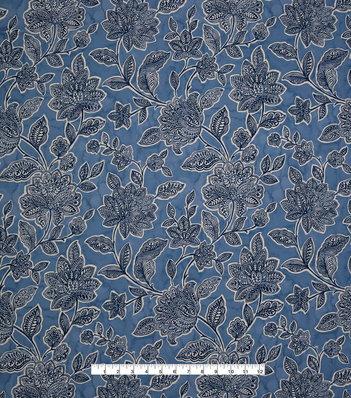 Stretch Chiffon Fabric 57\u0027\u0027-Boho Floral on Blue