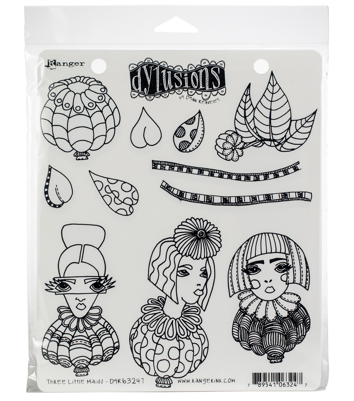 Ranger Dyan Reaveley\u0027s Dylusions Cling Stamps-Three Little Maids