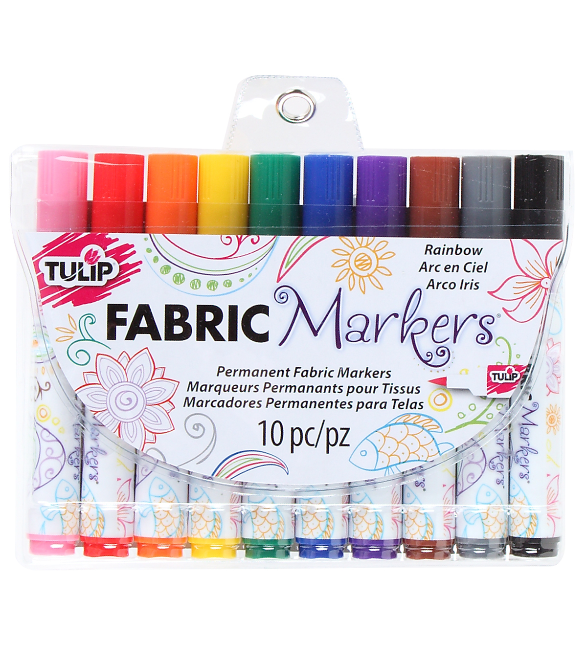 Rainbow -fabric Markers 10/pk