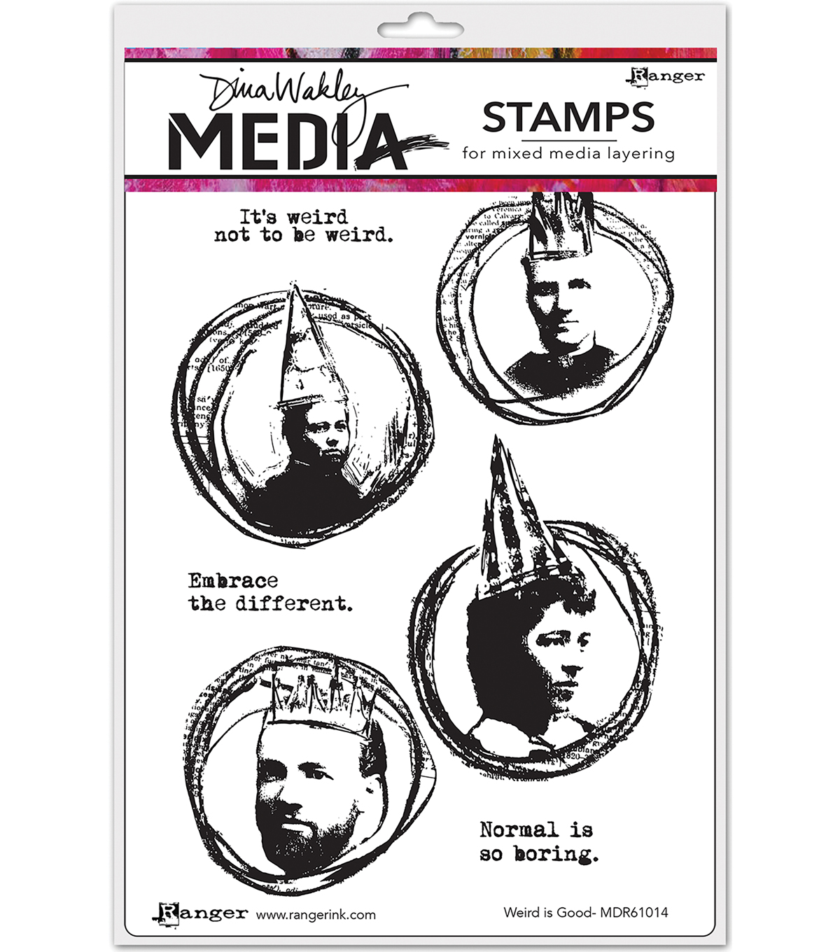 Ranger Dina Wakley Media Cling Stamps-Weird is Good
