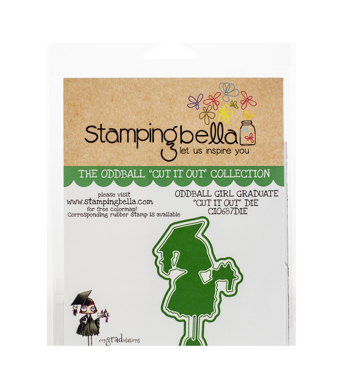 Stamping Bella 2.5\u0027\u0027x4\u0027\u0027 Cut it Out Die-Oddball Girl Graduate