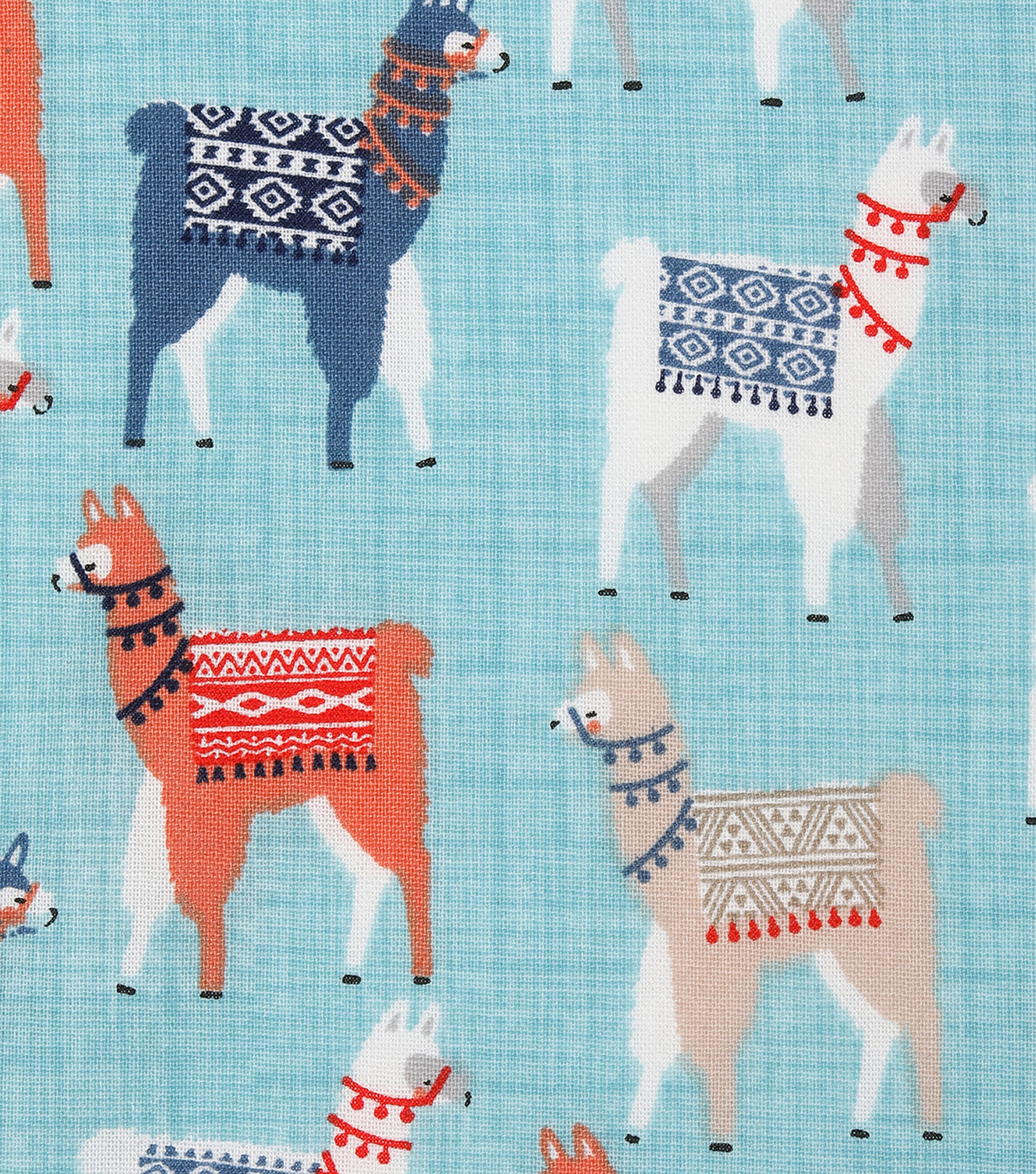 Novelty Cotton Fabric -Mixed Llamas With Blankets