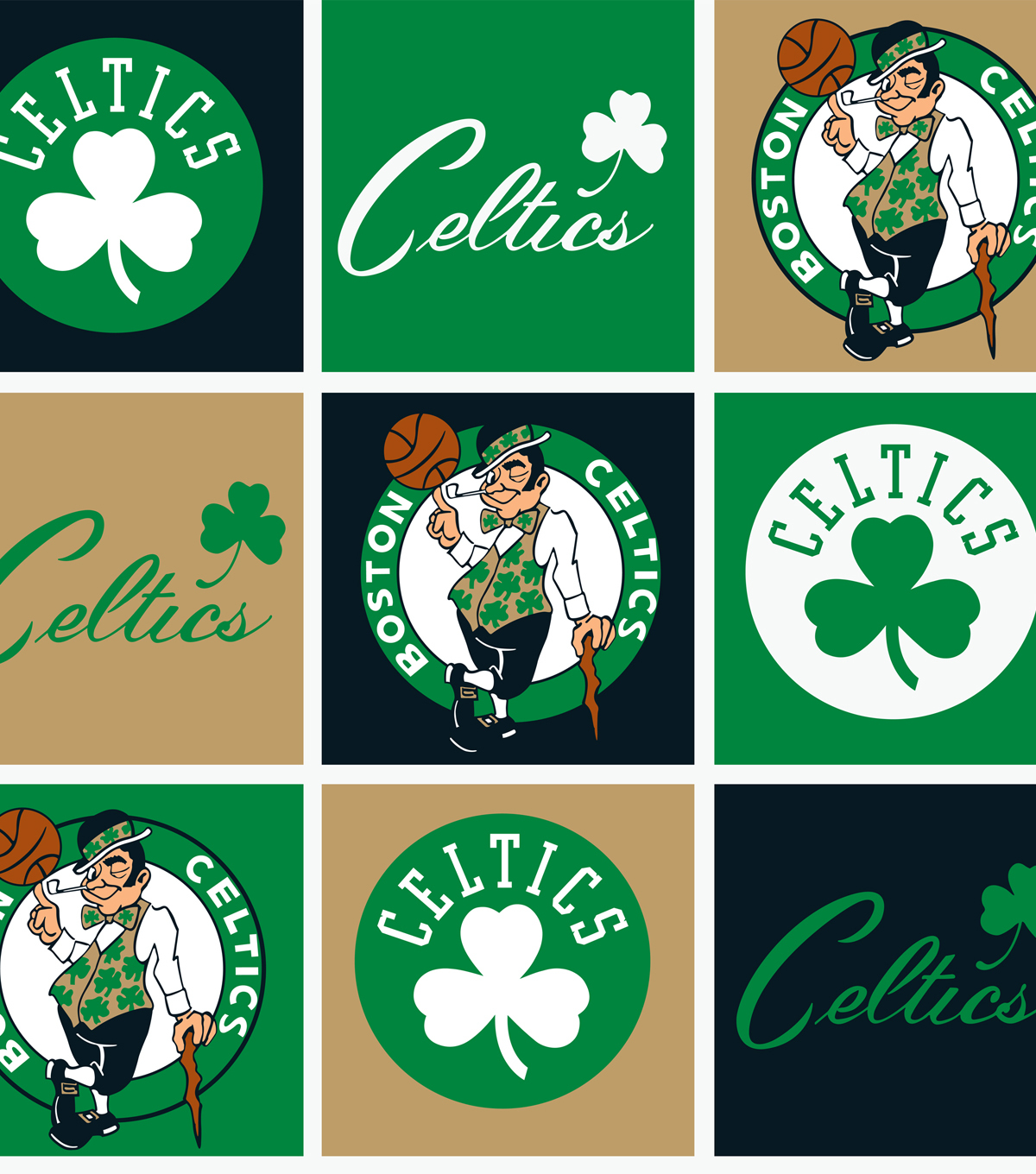 Boston Celtics Fleece Fabric Block