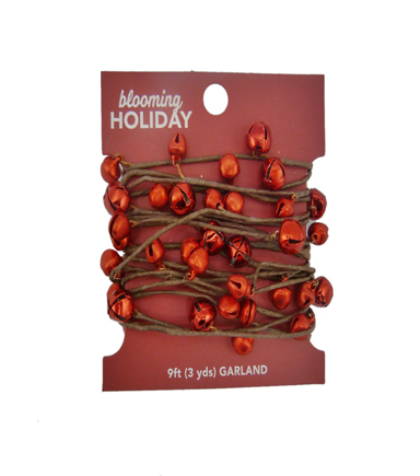 Blooming Holiday Christmas 9\u0027 Bell Roping Garland-Red