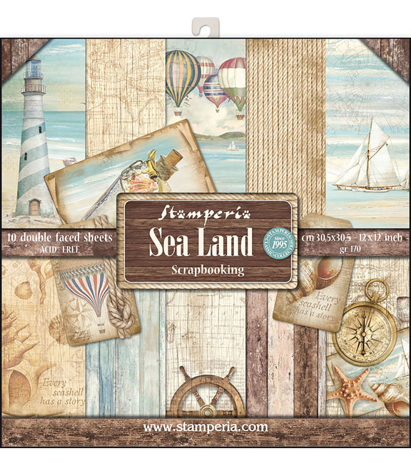 Stamperia Sea Land 10-sheets 12\u0027\u0027x12\u0027\u0027 Double-Sided Paper Pad