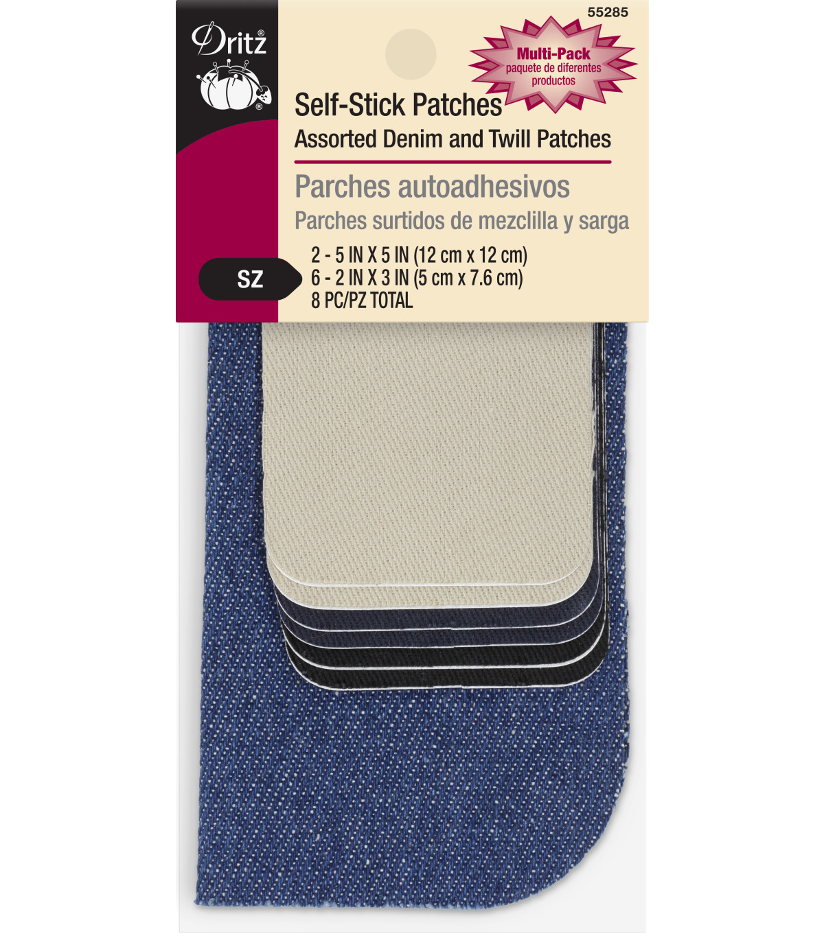 Dritz Self-Stick Denim & Twill Patches-8 pc