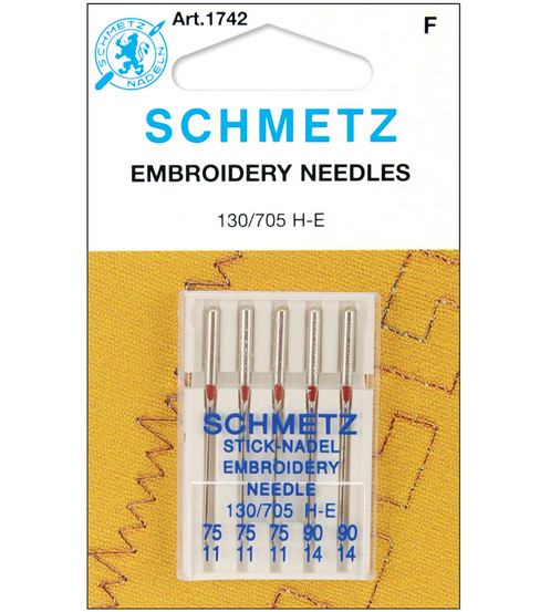 25 Schmetz Embroidery 75//11 90//14 Assorted Sewing Machine Needles