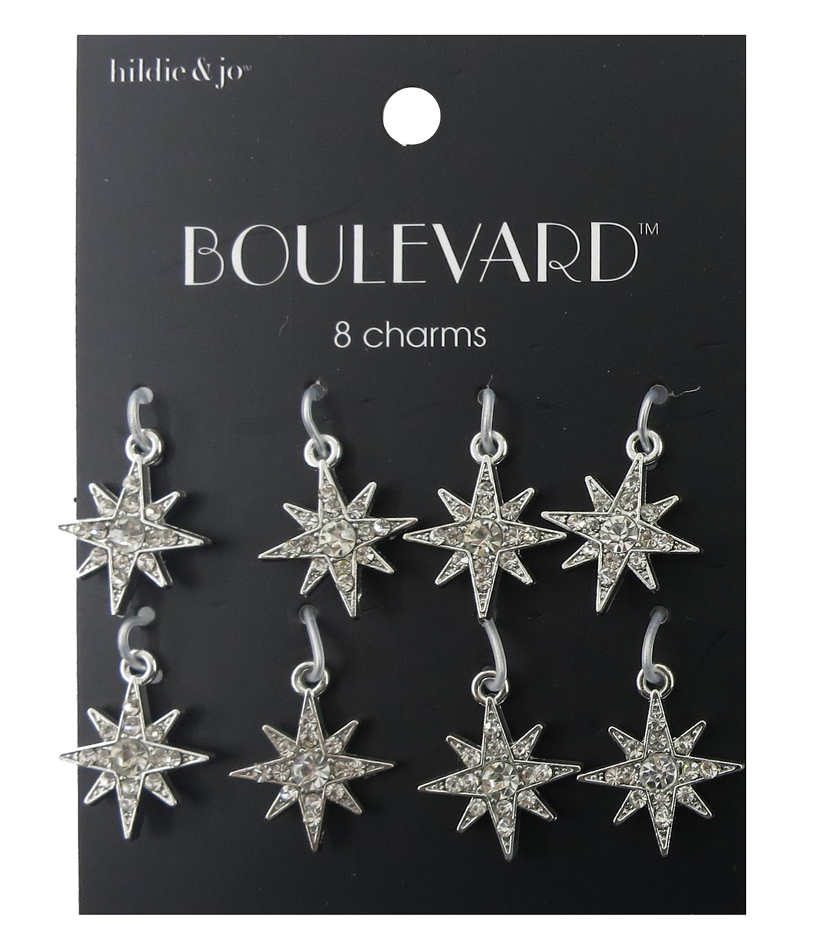 hildie & jo Boulevard 8 Point Star Silver Charms-Clear Crystals