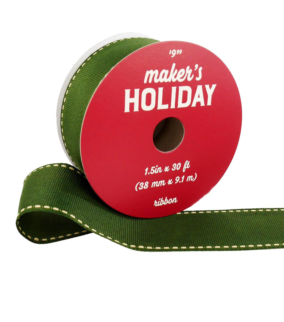 Maker\u0027s Holiday Ribbon 1.5\u0027\u0027x30\u0027-Green with Natural Stitch Edge