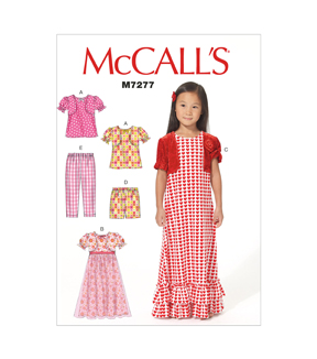 Mccall Pattern M7277-Cl0-Children\u0027S/Girls\u0027 Top, Gowns, Shorts And Pants-6-7-8