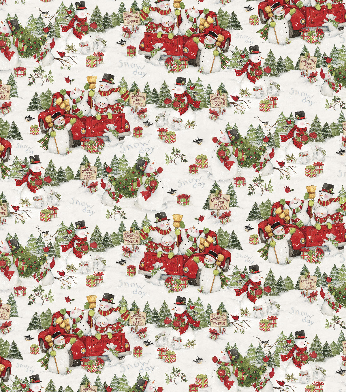 Christmas Cotton Fabric-Scenic & Snowmen on Trucks | JOANN