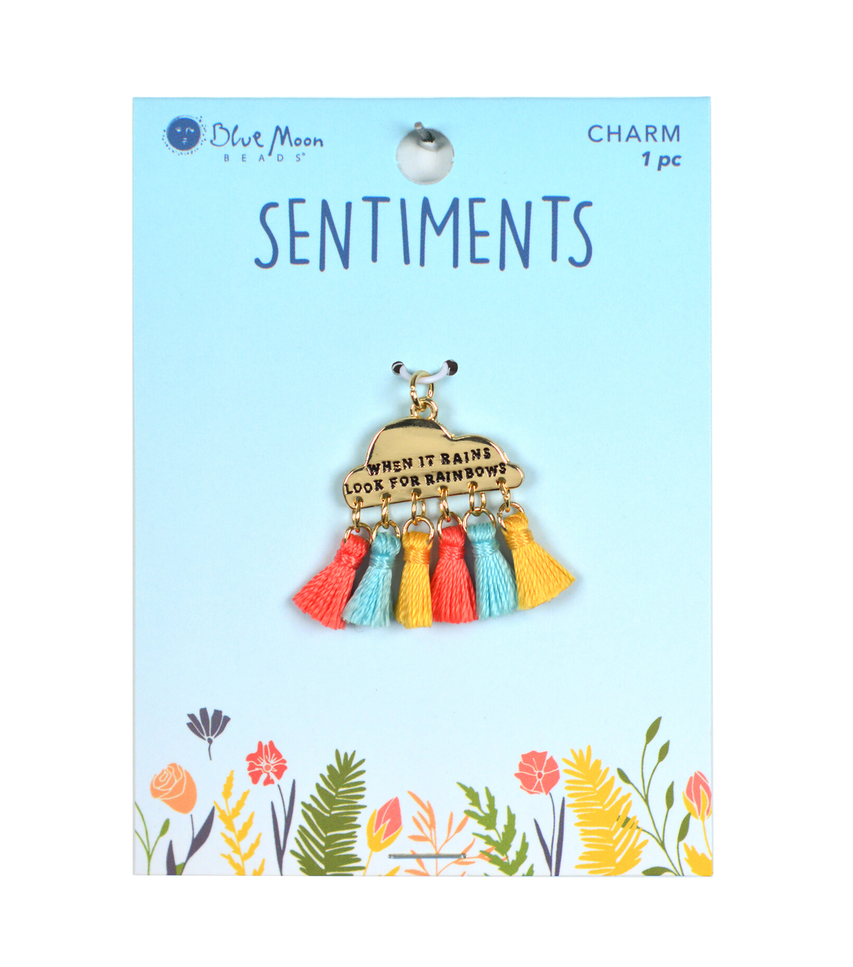 Blue Moon Beads Sentiments Charm with Tassels-Multi