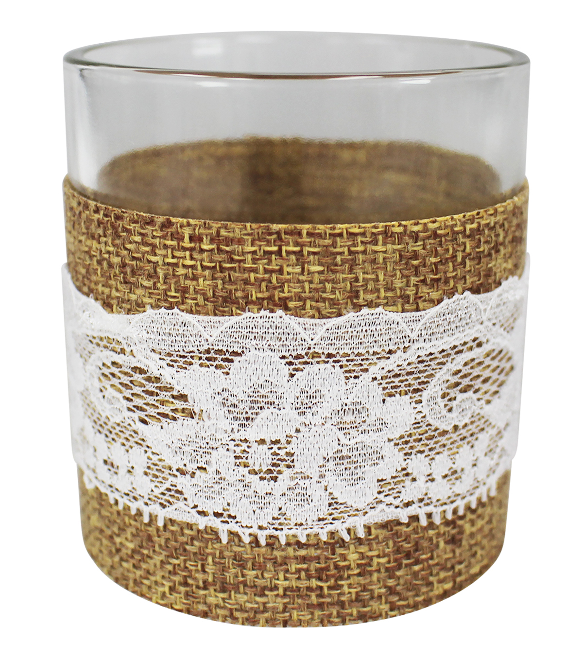 Save the Date Rustic Burlap Wrapped Votive Holder